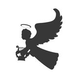 Angel silhouette fairy wing heaven icon. Vector graphic. Angel silhouette fairy wing heaven icon. Isolated and flat illustration. Vector graphic Royalty Free Stock Image
