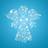 Angel silhouette filled with snowflakes Royalty Free Stock Photo