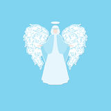 Angel silhouette with ornaments wings. Angel with ornamental floral white wings and glowing nimbus on a blue background. Beautiful applique. Abstract design Royalty Free Stock Image