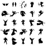 Angel silhouettes set. On the white background vector illustration