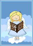 Angel singing. Little angel girl singing in the clouds Stock Image