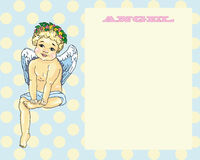 Angel sitting card  background peas Royalty Free Stock Image