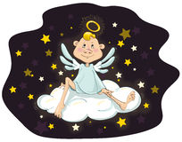 Angel sitting on a cloud Royalty Free Stock Photos