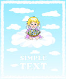 Angel sitting on a cloud and holding a basket of flowers.  Stock Photo
