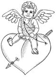 Angel sitting on heart. Picture of a small Cupid sitting on the heart. Drawing on paper Royalty Free Stock Photos