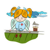 Angel is sitting on the roof. A little angel girl sits on the roof and watches. vector Stock Image