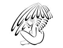 Angel Sitting With Wings Flared, línea arte estilizada stock de ilustración