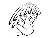 Angel Sitting With Wings Flared, Stylized Line Art Stock Photos