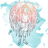 Angel sketch on a grunge background Stock Photos