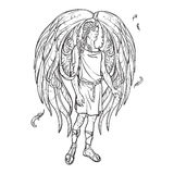 Angel sketch on a white background Royalty Free Stock Photography