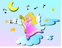 Angel in the sky. A cute angel playing and singing in a starry sky. Vector illustration Stock Photo