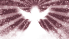 Angel in the sky. With abstract background and sun rays Royalty Free Stock Photo