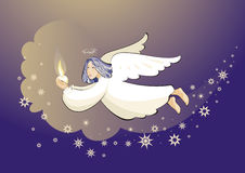 Angel in sky holding candle Stock Image