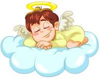 Angel sleeping. A cartoon illustration of a little angel sleeping on the cloud Stock Photo