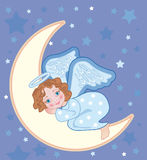 Angel sleeping on the moon. Background for congratulating on Christmas with an angel Stock Photos