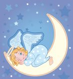 Angel sleeping on the moon Stock Photography