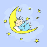 Angel sleeping on the moon. Vector illustration Stock Images