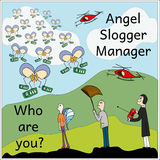 Angel. Slogger. Manager. Shades of gray Illustration.  Royalty Free Stock Photo
