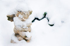 Angel with snow stock photography