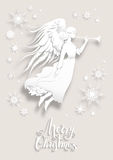 Angel in a snow. Christmas background with silhouette of an angel on a snowy background. Luxury Christmas design for card, banner,ticket, leaflet and so on royalty free illustration