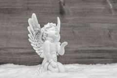 Angel snow Little white cherub Christmas decoration. Angel in snow. Little white cherub. Christmas decoration Royalty Free Stock Images