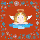 Angel in snowflakes frame Stock Photos