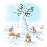 Angel snowman. A  snowman angel surrounded by forest animals Stock Photo