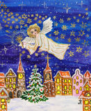 Angel with sparkler, Christmas picture stock photos