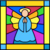 Angel in stained glass. Illustration of a square stained glass panel with an angel...see matching panels in my portfolio...nativity, kings & shepherds vector illustration