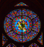 Angel Stained Glass Notre Dame Cathedral Paris France. Notre Dame was built between 1163 and 1250AD stock images
