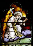 An angel in stained glass. A photo of an angel in stained glass royalty free stock image