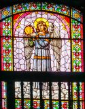 Angel Stained Glass Santo Domingo Church Mexico City Mexico. Church first built in the 1500s stock photography