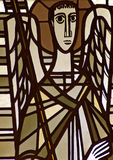 An angel in a stained glass window. A photo of an angel in a stained glass window stock photos