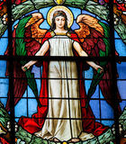Angel - Stained Glass window. Angel with wings - Stained Glass window in the German Church of Stockholm, Sweden royalty free stock photo