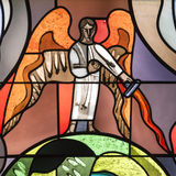 Angel on stained window stock photo