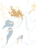 Angel with Star. A illustration of a simplistic silhouette of an angel in a flowing robe holding a star royalty free illustration