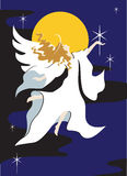 Angel with Star. A illustration of a simplistic silhouette of an angel in a flowing robe holding a star stock illustration