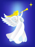 Angel and the star. Angel proclaiming about the baby was born Royalty Free Stock Photography