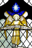 Angel with the star of Bethlehem in stained glass Royalty Free Stock Photos