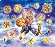 Angel and stars Stock Photo