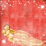 Angel and stars on red background Royalty Free Stock Images