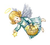 Angel and stars Royalty Free Stock Images