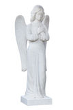 Angel. Statue. Angel grieving. Marble sepulchral statue. Isolated on white background Stock Photos