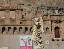 Angel statue along Sant Angelo bridge stock images