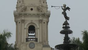 Angel Statue Blowing Horn 2 stock footage