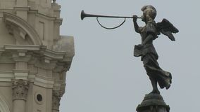 Angel Statue Blowing Horn stock footage