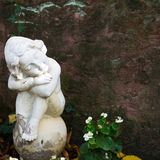 Angel statue at cementery. Relogious symbol, copy space Stock Photography