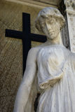 Angel statue with cross Stock Images