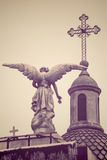 Angel Statue and Cross at Recoleta Cemetery, Buenos Aires royalty free stock image