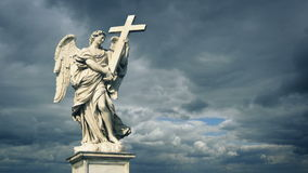 Angel Statue In Dramatic Sunlight stock video footage